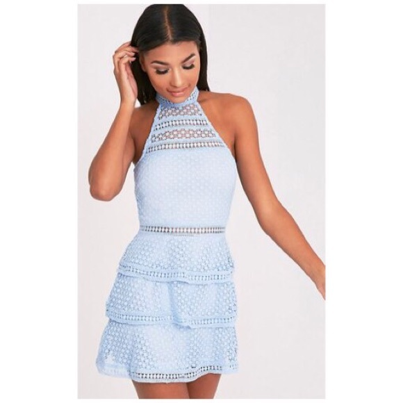 5146d7b78a0 Raine Dusty Blue Lace Panel Tiered Bodycon Dress